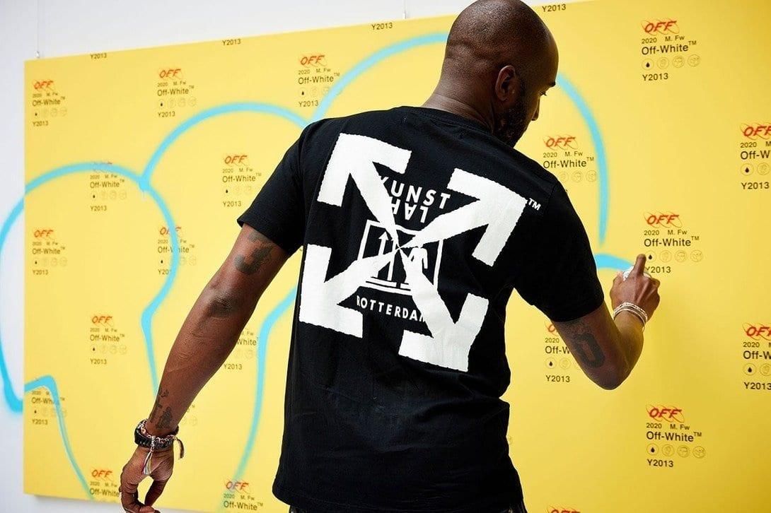 Off-White™ director Virgil Abloh wearing Kunsthal Rotterdam x Off-White™ in Seoul, 2019. Photo by Seunghoon Jeong/Hypebeast KR.